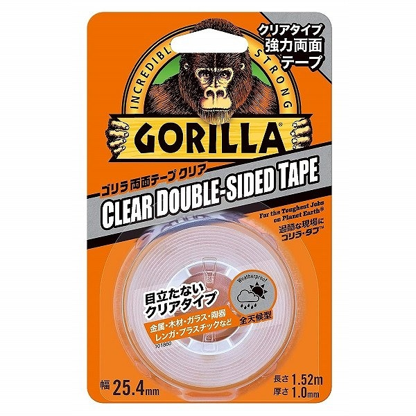 ゴリラ両面テープ クリアタイプ 幅25.4mm×長1.52m×厚1mm
