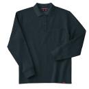 ホシ服装 245 裏起毛ポロシャツ 4.ブラック L 長袖