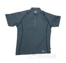 ホシ服装 228 半袖ジップアップシャツ 杢ネイビー L