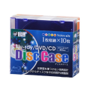 ブルーレイ/DVD/CDディスクケース 1枚収納×10枚 5色×各2枚