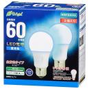 OHM LED電球 E26 60形相当 全方向 昼光色 2個入り