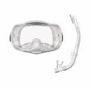 Reef Tourer (リーフツアラー) シリコーン製排水弁付きマスク&弁付きドライシュノーケル 2点セット 大人用 ホワイト