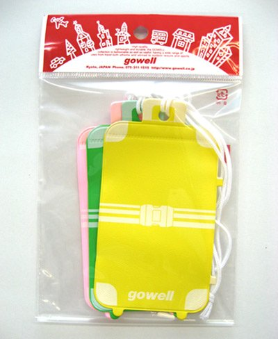 gowell/ゴーウェル スーツケース型ネームタグ(アソート) 3枚セット