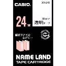 ネームランドテープ 24mm幅 透明地に黒文字