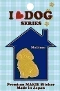 I LOVE DOG デコシール マルチーズ ゴールド