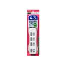 ELPA LEDランプ スイッチ付タップ 4P3m上 WLS-LU43EB(W)