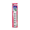 ELPA LEDランプ スイッチ付タップ 6P2m上 WLS-LU62EB(W)