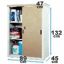 家庭用収納庫 (約)幅89×奥行47(45)×高132cm チタングレー HS−132(TGY)
