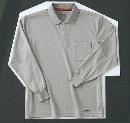 ホシ服装 225 長袖ポロシャツ 2グレー L