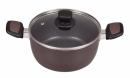 ニューチャコ ふっ素両手鍋 ガラス鍋蓋付 20cm IH対応 HB1669