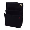 鳶壱 帆布製工具腰袋 2段スタンダード型 仕切付内ポケット 黒 No.112−BK