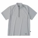 ホシ服装 228 半袖ジップアップシャツ シルバー 3L