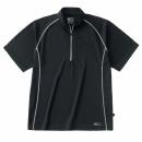 ホシ服装 228 半袖ジップアップシャツ ブラック M