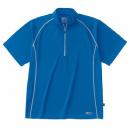 ホシ服装 228 半袖ジップアップシャツ ブルー L