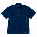 ホシ服装 228 半袖ジップアップシャツ ネイビー M
