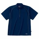 ホシ服装 228 半袖ジップアップシャツ ネイビー 3L