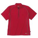 ホシ服装 228 半袖ジップアップシャツ レッド 3L