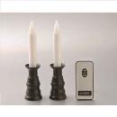 リモコン式 安心LEDローソク ブラック 2本組