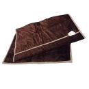 昭和西川 ふっくらなめらかわた入り 衿付合わせ毛布 ブラウン 140×200