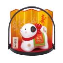 錦彩招福戌 (福犬) 丸手籠付