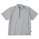 ホシ服装 228 半袖ジップアップシャツ シルバー S