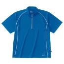 ホシ服装 228 半袖ジップアップシャツ ブルー S