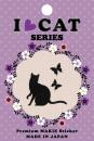 蒔絵シール I LOVE CAT 猫と蝶 ブラック