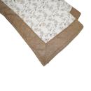 肌触りさらさら綿混ラグ フラワーリーフ 正方形 2帖用 185×185 ベージュ