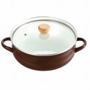 クラディア ホーローガラス蓋 よせしゃぶ鍋 オール熱源対応 ブラウン 26cm