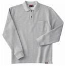 ホシ服装 245 裏起毛ポロシャツ 2杢グレー L 長袖