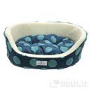 アニマルシティ ビックドット柄 丸型ベッド LL ブルー